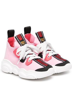Moschino Kids Logo-print lace-up trainers