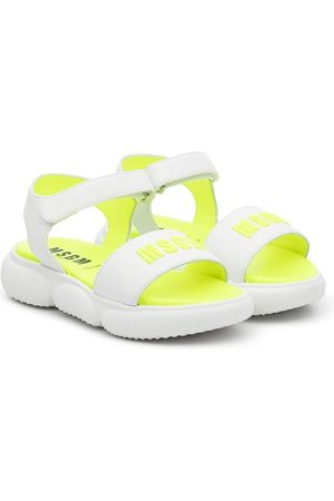 Msgm Logo leather touch-strap sandals