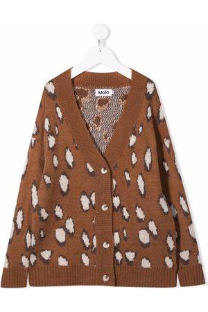 Molo Deer-pattern V-neck cardigan