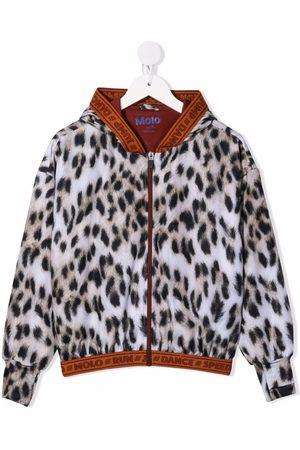 Molo Kids Girls Bomber Jackets - Leopard-print zip-up bomber jacket - Neutrals