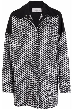VALENTINO Women Denim Jackets - Optical bouclé drawstring-waist jacket