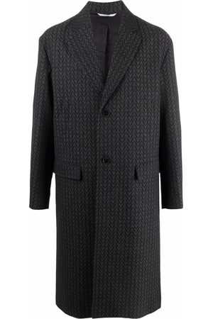 VALENTINO Optical V logo single-breasted coat - Grey