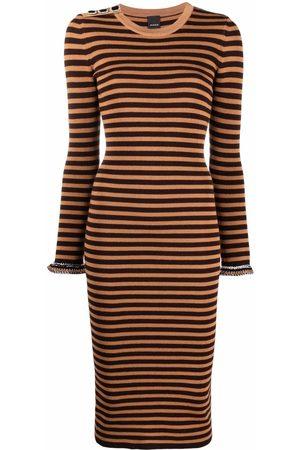 Pinko Striped knitted midi dress