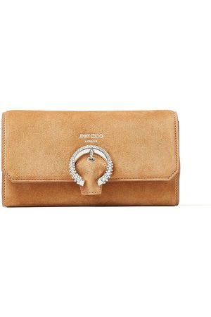 Jimmy Choo Crystal-embellished suede wallet with chain