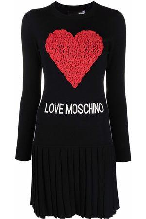 Love Moschino Tulle-heart logo knit dress