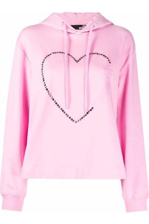 Love Moschino Studded-heart logo hoodie