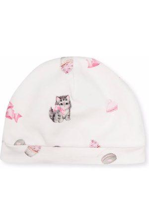 Monnalisa Kitten-print cotton beanie