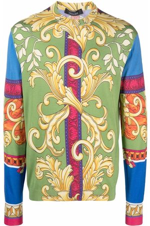 VERSACE Baroque-print silk T-shirt