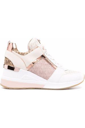 Michael Kors Georgie leather trainers - Neutrals