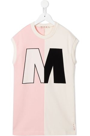 Marni Kids Girls Printed Dresses - Colour-block logo-print dress - Multicolour