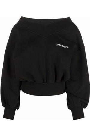 Palm Angels Logo-print off-shoulder sweatshirt