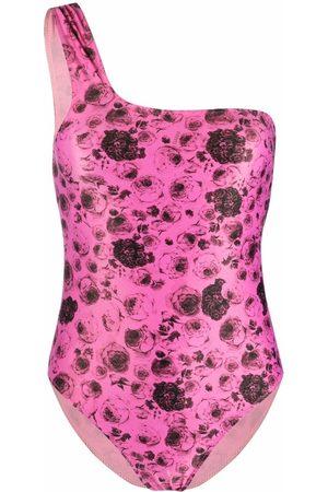 Ganni Floral-print one-shoulder swimsuit