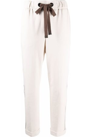 PESERICO SIGN Drawstring straight-leg trousers - Neutrals