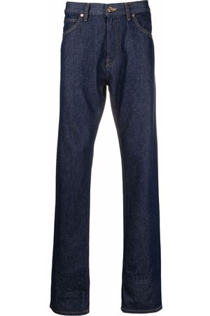 VERSACE Embroidered-logo straight-leg jeans