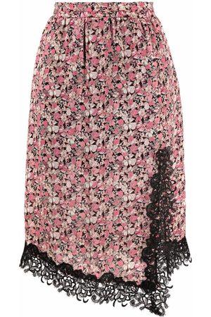 Pinko Women Printed Skirts - Floral-print side-slit skit