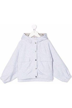 Brunello Cucinelli Kids Girls Bomber Jackets - Hooded button-down jacket - Grey
