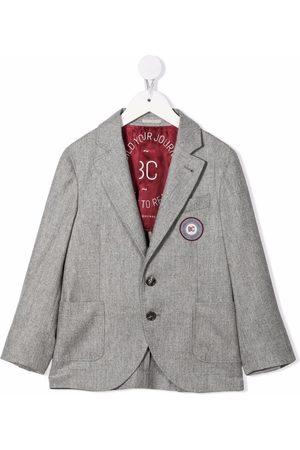 Brunello Cucinelli Embroidered logo single-breasted blazer - Grey
