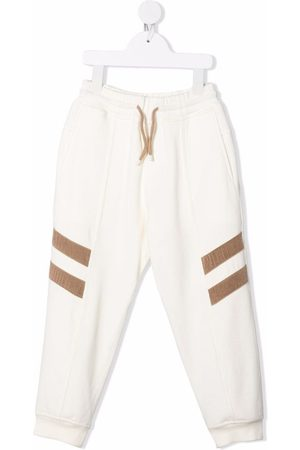 Brunello Cucinelli Stripe-appliqué track pants - Neutrals