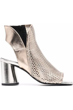 Cult Open-toe leather-mesh sandals