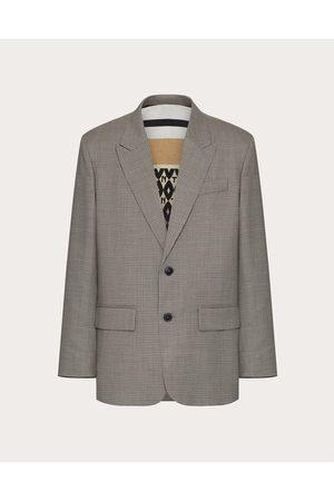 VALENTINO UOMO Men Blazers - Wool Jacket Man Grey Virgin Wool 100% 48