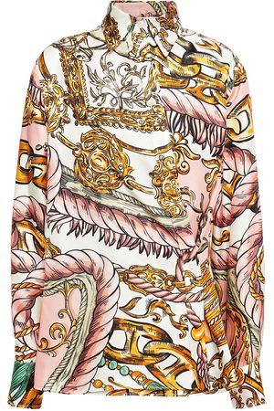 Moschino Woman Asymmetric Printed Silk-twill Shirt Pastel Size 36