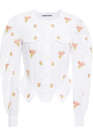 Moschino Women Long sleeves - Woman Cropped Embroidered Cotton-jacquard Shirt Size 36