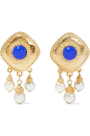 BEN-AMUN Woman 24-karat -plated Faux Pearl And Stone Clip Earrings Size