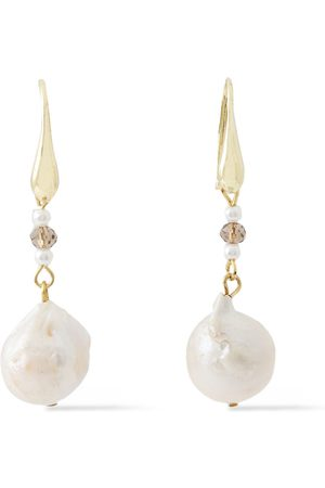 Kenneth Jay Lane Woman Gold-plated Faux Pearl And Bead Earrings Lilac Size