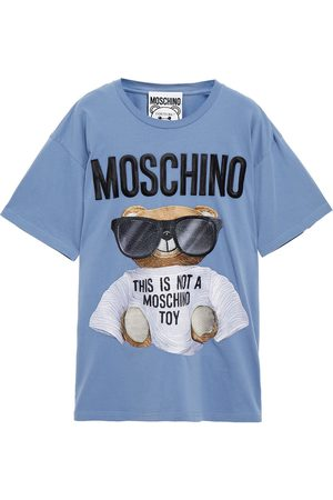 Moschino Woman Embroidered Cotton-jersey T-shirt Light Size L