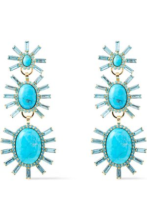ELIZABETH COLE Woman 24-karat Gold-plated Turquoise And Swarovski Crystal Earrings Turquoise Size