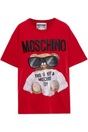 Moschino Woman Embroidered Cotton-jersey T-shirt Size L