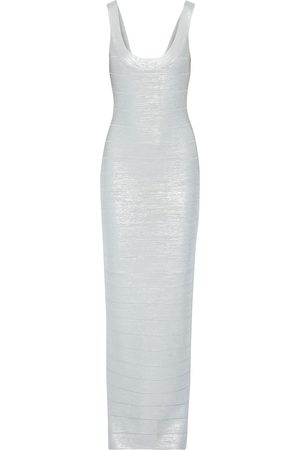 HERVÉ LÉGER Hervé Léger Woman Metallic Coated Bandage Gown Size L