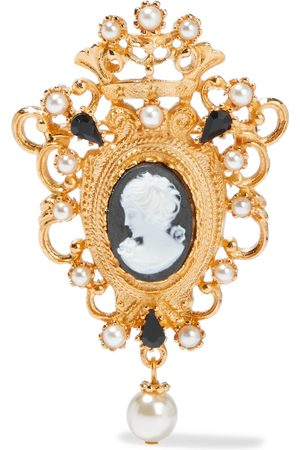 BEN-AMUN Woman 24-karat -plated Faux Pearl And Crystal Cameo Brooch Size