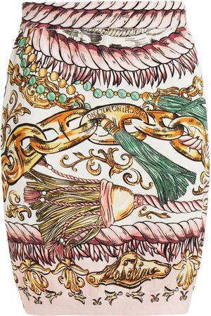 Moschino Woman Printed Cotton Mini Skirt Pastel Size 38