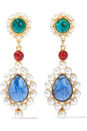 BEN-AMUN Women Earrings - Woman 24-karat -plated Faux Pearl And Stone Clip Earrings Size