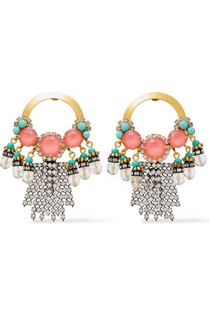 ELIZABETH COLE Woman 24-karat And Hematite-plated Crystal And Stone Earrings Size