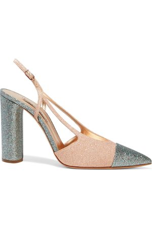 Casadei Woman City Lights Two-tone Glittered Woven Slingback Pumps Rose Size 35