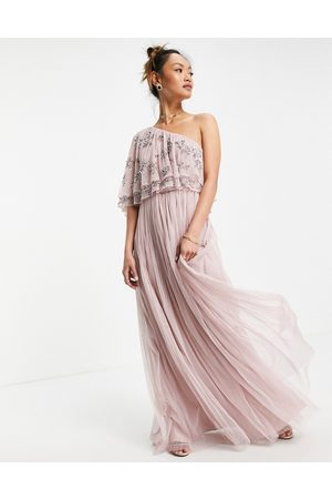 Maya Women Maxi Dresses - Asymetirc embellished top maxi dress in frosted