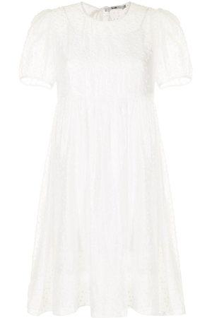 B+AB Polka-dot layered smock dress