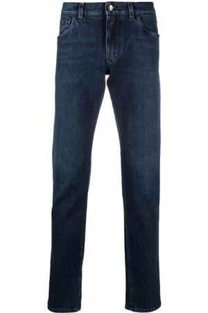 Dolce & Gabbana Leopard-trim slim-fit jeans