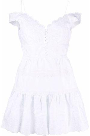 Self-Portrait Women Strapless Dresses - Scalloped edge off-shoulder mini dress