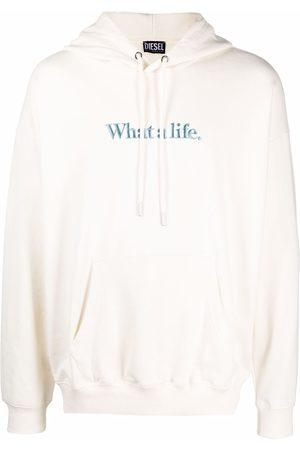Diesel Organic cotton-blend slogan-embroidery hoodie