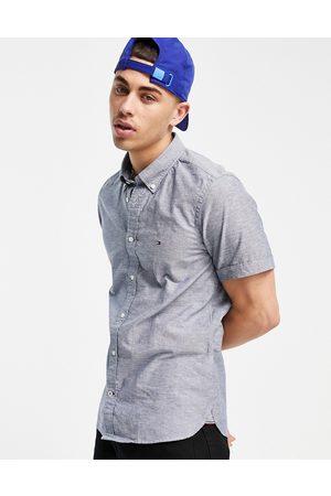 Tommy Hilfiger Slim cotton linen short sleeve shirt-Blues