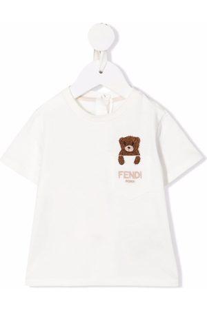 Fendi Teddy Bear logo-embroidered pocket T-shirt - Neutrals