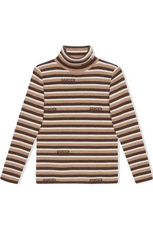 Gucci Intarsia-logo stripe wool turtleneck