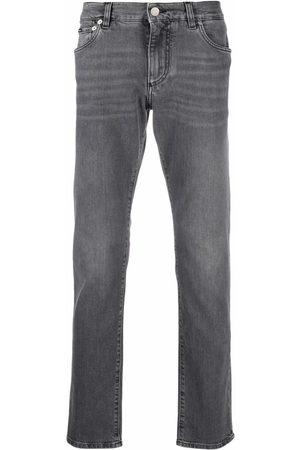 Dolce & Gabbana Straight-leg logo-plaque jeans - Grey