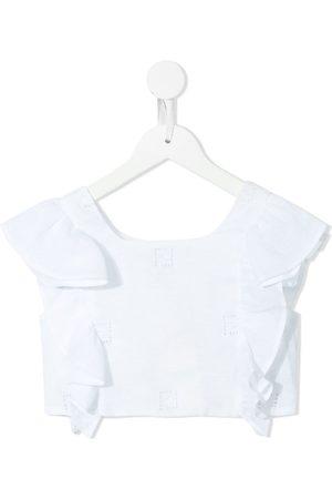 Fendi FF-embroidery cropped ruffle blouse