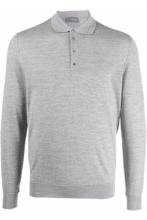 DRUMOHR Long-sleeved merino polo shirt - Grey