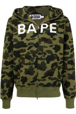 A Bathing Ape Logo-print camouflage zip-up hoodie