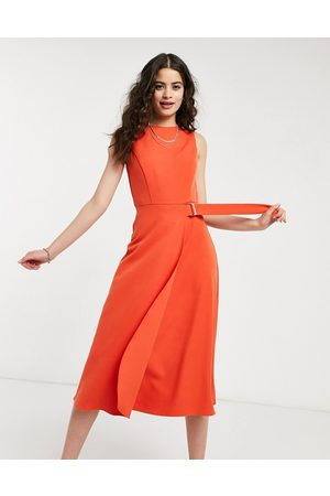 Oasis Buckle detail midi dress in bright